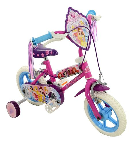 Disney Princess 12 Inch Deluxe Girls Bike in Pink with Stabilisers