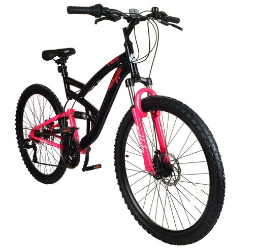 "Muddyfox Molotov 26"" Dual Suspension Bike in Black and Cerise Pink"
