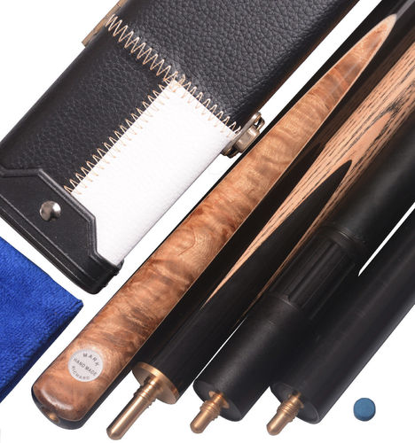 "Stylish 57"" Handmade 3/4 Piece Snooker Cue Ebony/Burl Spliced Butt Complete Set-Black and White Case"