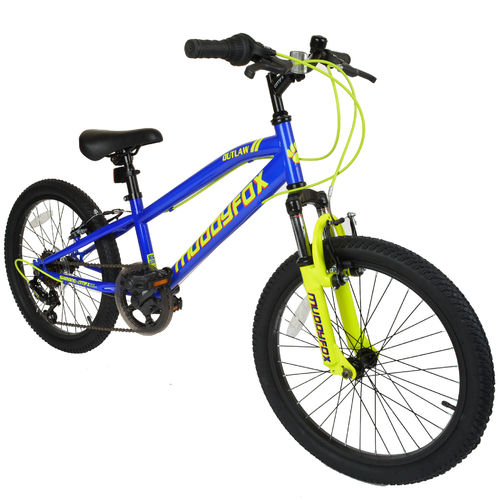 "Muddyfox Outlaw 20"" Boys Hardtail Mountain Bike in Blue and Yellow"