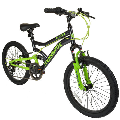 "Muddyfox Force 20"" Boys Dual Suspension Mountain Bike in Black and Green"