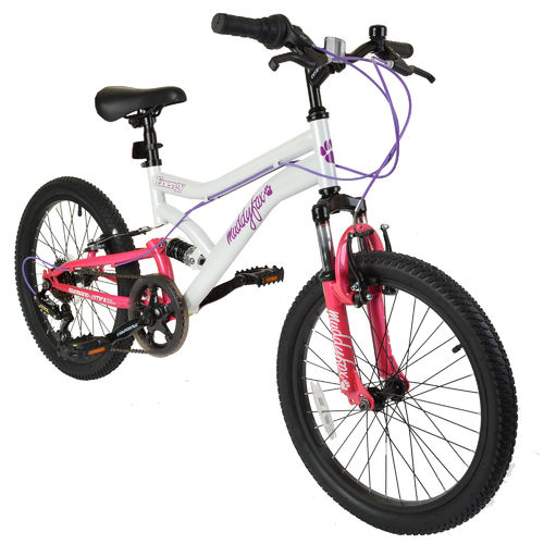 "Muddyfox Energy 20"" Girls Dual Suspension Bike in White and Pink"