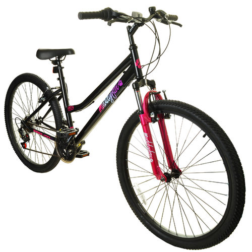 "Muddyfox Life 26"" Ladies Hardtail Mountain Bike in Black and Pink with Front Suspension"