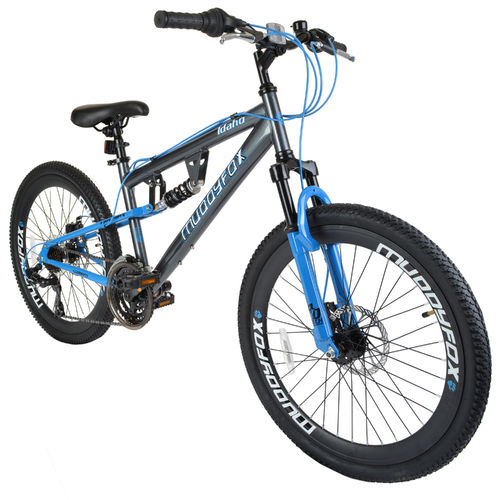 "Muddyfox Idaho 24"" Boys Dual Suspension Mountain Bike in Grey and Blue with Dual Disc Brakes"