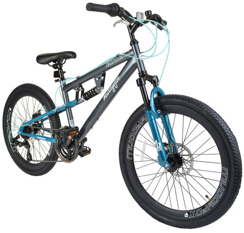 "Muddyfox Nebraska 24"" Girls Dual Suspension Mountain Bike in Grey and Terquise with Dual Disc Brakes"