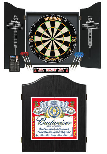 Deluxe Winmau Budweiser Complete Dart Set - Blade 5 Champions Choice Dual Core Specialist Dartboard