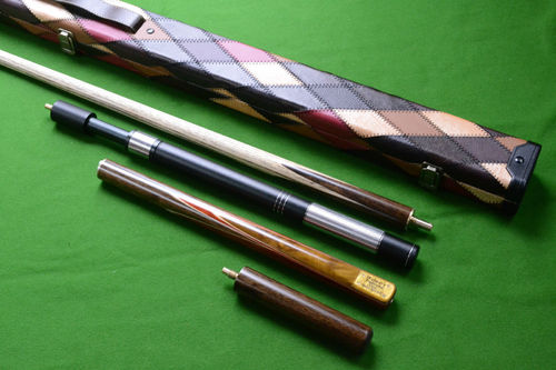Handmade 3/4 Piece 57 Inch Snooker/Pool Cue Complete Set with Ash Shaft and Hand Spliced Butt