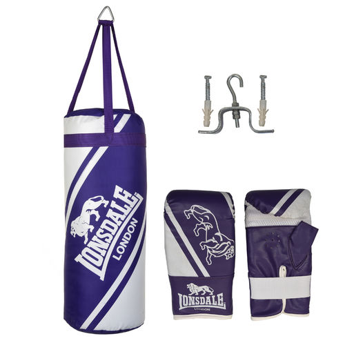 Lonsdale 2ft Punch Bag and Glove Set - Junior Jab Boxing Complete Set - Purple and White