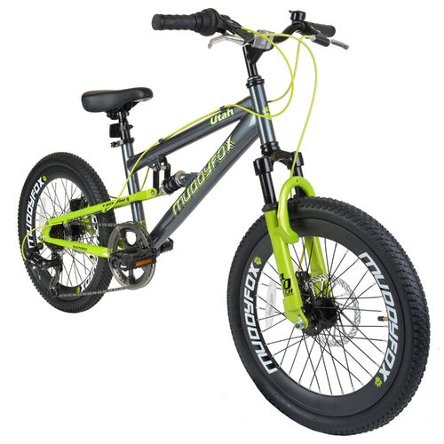 "Muddyfox Utah 20"" Boys Dual Suspension Mountain Bike in Grey and Lime Green"