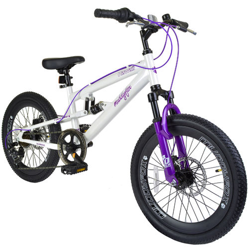 "Muddyfox Hawaii 20"" Girls Dual Suspension Mountain Bike in White and Purple"