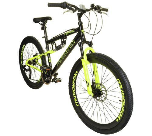 "Muddyfox 26"" Nevada Full Suspension Mountain Bike in Black and Hi Viz Yellow"