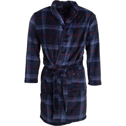 Farah Men's Blue Check Soft fluffy Luxury Robe