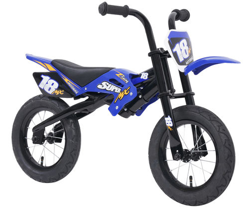 Super MX 12 Inch Moto Balance Bike in Blue and Black